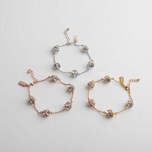 Multi-Faceted Cut Zircon Diamond Ball Bracelet